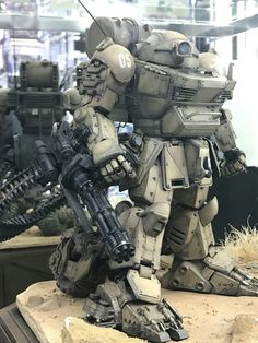 """A place to show off your kitbashed models, miniatures or anything similar. A """"Kitbash"""" is the combination. Arte Steampunk, Steampunk Airship, Combat Suit, Mecha Suit, Sci Fi Models, Custom Gundam, Mecha Anime, Futuristic Art, Super Robot"""