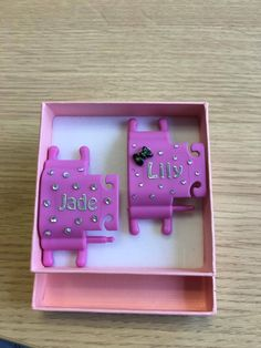 Personalised Phone Buddy with the names 'Jade' and 'Lily'. Why not create your own: www.phone-buddy.co.uk