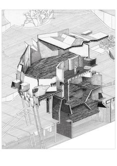 Open space - section drawing. Use of dark and light lines to show roof and floor structure.