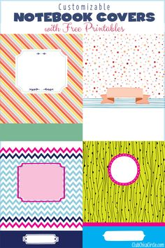 Customizable Notebook Free Printable Designs - yes you can use them as labels :) by @clubchicacircle