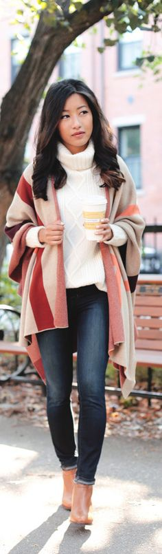 CABLE SWEATER + COZY PLAID WRAP / Fashion By Extra Petite