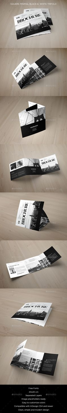 Square Minimal Black & White Trifold Brochure Template InDesign INDD. Download here: http://graphicriver.net/item/square-minimal-black-white-trifold/15474200?ref=ksioks