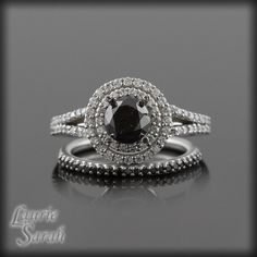 Black Diamond Engagement Ring and Wedding by LaurieSarahDesigns