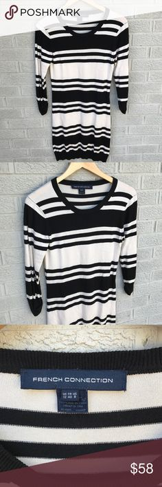"""French Connection Black White stripe Bodycon Dress French Connection Black White stripe Bodycon Dress! Love this classic style! Super comfy too, has stretch! 3/4 length sleeve. This runs small, please size up! Size 8. 32"""" long & 15"""" across the chest. Previously loved, minimal piling. BS1210081017 French Connection Dresses"""