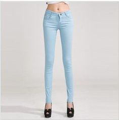 Sprin Autumn Fashion Pencil Jeans Woman Candy Colored Mid Waist Full Length Zipper Slim Fit Skinny Pants
