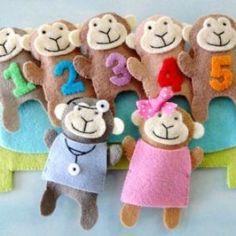 Five Little Monkeys Finger Puppets   YouCanMakeThis.com #Feltfingerpuppets