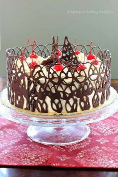 Tres leches Cake with Lychee mousse filling and Chocolate Lace collar | Manju's Eating Delights