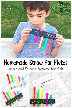 STEM / STEAM for Kids: Create your own straw pan flutes! A fun craft you can use to explore the science of sound and music. Children can create their own songs and record them on the free song recording sheet printable! - Kids education and learning acts Preschool Music Activities, Steam Activities, Movement Activities, Fun Activities For Kids, Music For Kids, Art For Kids, Stem For Kids, Kids Crafts, Flautas