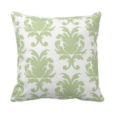 sage green bold large damask pattern throw pillows