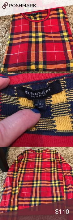 """Men's Burberry Sweater Lightweight 100% cotton light weight  flaws shown in the pictures one row in the back has the three stitching issues and one mark on the sleeve  length is 26""""  across is almost 22""""  authentic Burberry Sweaters Crewneck"""