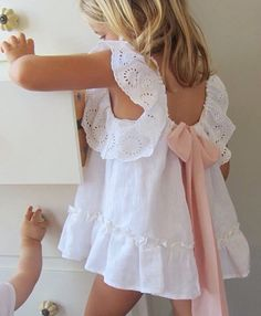 Would be cute for rehearsal dinner, even has a blush pink bow. Little Dresses, Little Girl Dresses, Girls Dresses, Flower Girl Dresses, Flower Girls, Little Girl Fashion, Kids Fashion, Mode Rose, My Baby Girl