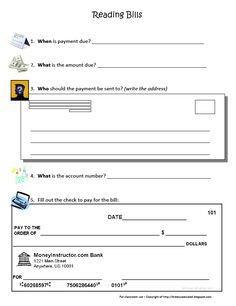 Check Writing | Checking account, Worksheets and Social studies
