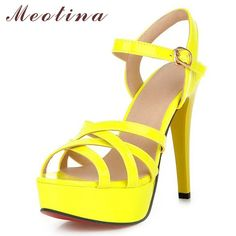 f2524212c976 Meotina Women Shoes Summer Sandals Platform High Heel Sandals Gladiator  Party Shoes Thin High Heels Female Cutout Yellow Shoes