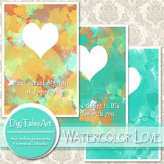 Set of three printable postcards with watercolor background, heart motif and funny love quotes. Two postcard backs are included in this set. You can print these double sided cards and give them as gifts to your loved ones on different special occasions, such as birthday, anniversary, st. Valentine etc.
