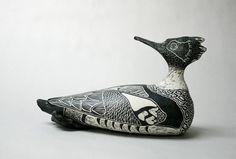 Black and white - bird - sgraffito-porcelain art - 'Merganser' -Tim Christensen