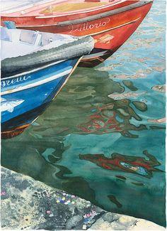 Aquarelle Giclée print des bateaux vénitiens avec des reflets sur l'eau, confettis