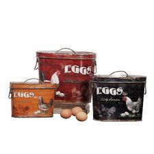 Casual Country 3 Piece Tin Boxes with Rooster and Eggs Painting