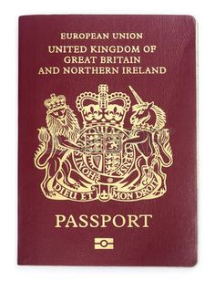 British passport over white background photo