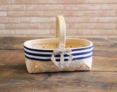 anchor flower girl basket . nautical wedding woven basket . navy blue and white stripes ribbon