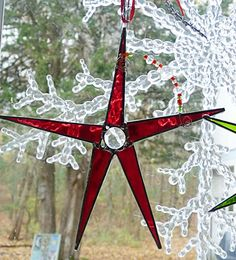 Bright Red Stained Glass Christmas Star with Green by miloglass, $16.00