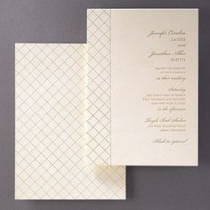 Couture luxury wedding invitations featuring an exquisite quilted pattern that has been gold foil stamped into sumptuous ecru velvet paper.  The true representation of a fashionable invitation.