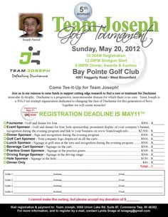 Golf outing flyer for Team Joseph