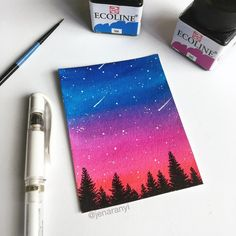 No photo description available. Simple Canvas Paintings, Small Canvas Art, Easy Canvas Painting, Mini Canvas Art, Cute Paintings, Moon Painting, Rainbow Painting, Canvas Canvas, Gouache Painting
