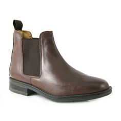 Mid Brown Leather Mens Chelsea Boot with Twin Elastic Gussets on a Low Heel