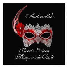"""""""Sweet Sixteen Masquerade Ball"""" Red/White Mask w/  Personalized Invite"""