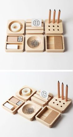 I wish that I had a stationary set like this! The simple, clean forms and functi. I wish that I had a stationary set like this! The simple, clean forms and functi. Cnc Projects, Woodworking Projects, Wood Crafts, Diy And Crafts, Stationary Set, Office Accessories, Vintage Design, Desk Organization, Wood Design