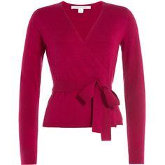 Diane von Furstenberg Wrap Around Cardigan ($268) ❤ liked on Polyvore featuring tops, cardigans, pink, wet look top, pink cardigan, v neck wrap top, v-neck tops et pink top