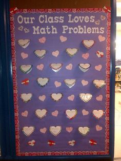 February bulletin board - student written and solved word problems