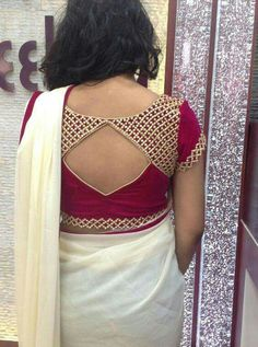 30 Latest Patch Work Blouse Neck Designs I get confused every time I have an event to attend & need to have a blouse stitched. So, I decided to write about the latest patch work blouse designs to make the task easier. Patch Work Blouse Designs, Simple Blouse Designs, Stylish Blouse Design, Simple Designs, Saris, Saree Blouse Neck Designs, Sari Blouse, Saree Blouse Patterns, Choli Designs