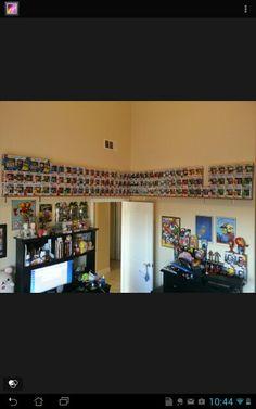 Funko Pop Storage. Shelf around room.  Boys room.