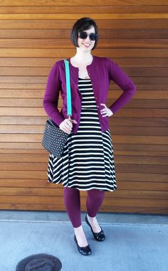 Librarian for Life + Style  |  Bright and bold in berry + black and white stripes