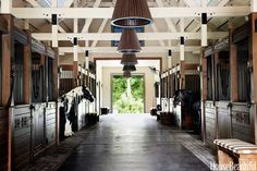 A wide corridor runs the length of the barn and is lined with horse stalls decorated with Gypsy-style stenciling in honor of homeowner Pippa Vlasov's Gypsy Vanner horses. Hanging light fixtures from Tropical Trading & Co. Beams painted in Macadamia by Sherwin-Williams. The bench cushion is upholstered in an outdoor fabric, Big Stripe by Perennials. Francesco Lagnese  - HouseBeautiful.com