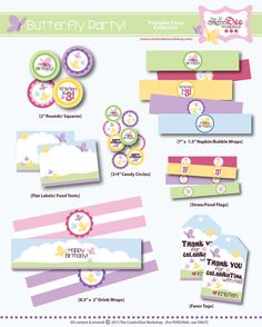 Butterfly Birthday Party -  DIY Printable Birthday Party Collection - Butterfly Party
