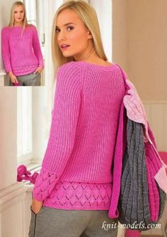 Pull - raglan aig n° Rubrics, Crochet Clothes, Diy And Crafts, Turtle Neck, Pullover, Knitting, Blouse, Sweaters, Dresses