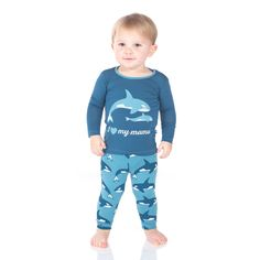 Salty Seas Collection Kickee Pants Print Long Sleeve Pajama Set Blue Moon Orca Print Viscose from Bamboo Spandex Machine wash cold, gentle cycle, tumble Pajama Set, Pajama Pants, Long Sleeve Pyjamas, Blue Moon, Kids, Baby, Clothes, Collection, Fashion