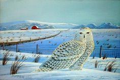 Snowy Owl, Bird Print, Acrylic, Wildlife, Nature, Art, Winter Scene #Wildlife #Nature #WallDecor #HomeDecor #Realism #Birds #ArtPrints #Acrylic #DougWalpus #Animal