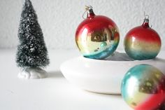 Set of 3 vintage tricolor glass Christmas by SchoolofVintage, $15.00
