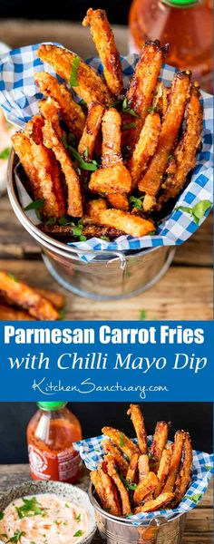 Baked Parmesan Carrot Fries with chilli mayo dip great as a lunch side dish o healthy lunch recipes Vegetarian Recipes, Cooking Recipes, Healthy Recipes, Vegetarian Cooking, Vegan Meals, Vegan Desserts, Easy Recipes, Healthy Cooking, Fingers Food