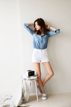 Strap Shoulder Denim Shirt