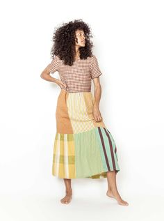 Ace And Jig, Lemon Yellow, Army Green, Smocking, Two Piece Skirt Set, Dress Summer, Thighs, Crew Neck, 21st