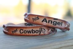 """Cowboy Angel Braided Leather Bracelet Set for Two Miller's Leather Shop Omg this is literally perfect!!! Mine & my boyfriend's song is """"Cowboys and Angels"""" by Dustin Lynch--I'm getting this couples bracelets for him for our anniversary! Finally found the perfect gift. ❤︎"""