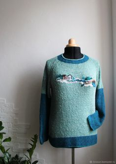 Knitted jumper River, knitted sweater with embroidery from merino - buy at the Fair of Masters - KGU0GRU | Jumpers, Moscow