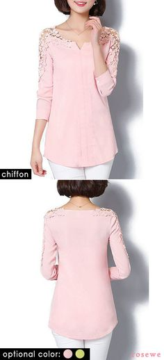 Chiffon blouse, soft fabric, it can't be see-through and doesn't have stretch, shop now.