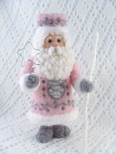 Needle Felted Pink Santa Claus Needlefelted Elf by McBrideHouse