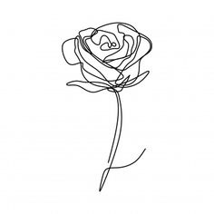 Continuous Line Drawing Of Rose Flower Vector PNG and Vector Red Ink Tattoos, Line Tattoos, Rose Line Art, Continuous Line Tattoo, Face Line Drawing, Rose Sketch, Black And White Sketches, 2 Logo, Flower Tattoo Designs