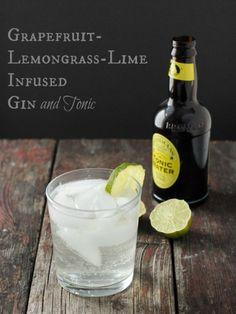 Grapefruit-lemongrass-lime infused gin and tonic cocktail ,refreshing for summer.